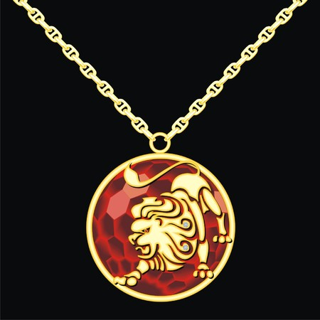 medallion: Ruby medallion on a chain with a lion Illustration