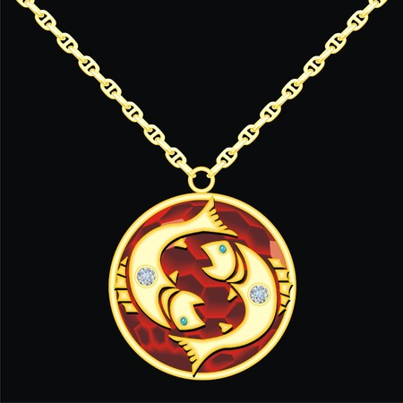 trinket: Ruby medallion on a chain with a pisces Illustration