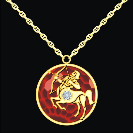 lavaliere: Ruby medallion on a chain with a sagittarius