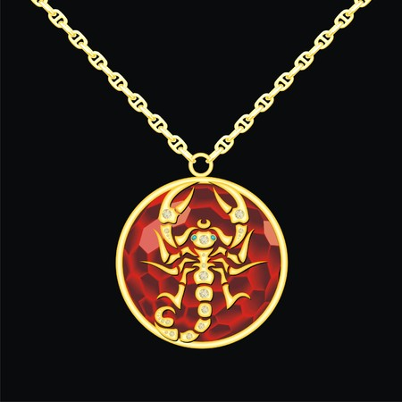Ruby medallion on a chain with a scorpion