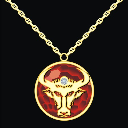 trinket: Ruby medallion on a chain with a taurus Illustration