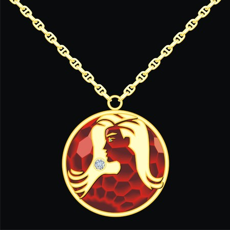 Ruby medallion on a chain with a virgo