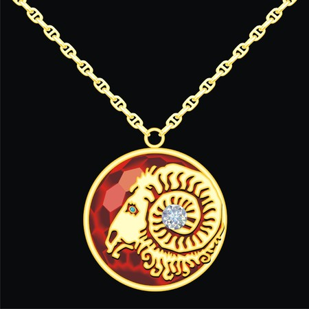 lavaliere: Ruby medallion on a chain with a aries