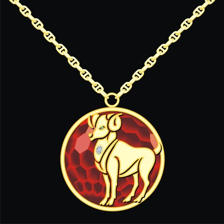 Ruby medallion on a chain with a capricorn Vetores