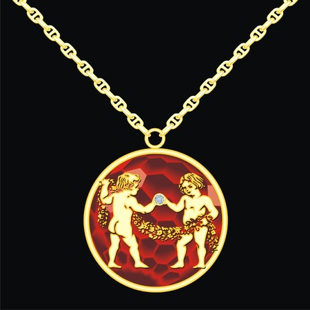 trinket: Ruby medallion on a chain with a gemini Illustration
