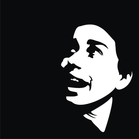 Girl illustration isolated on black