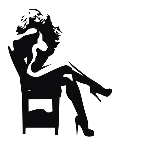 silhouette of a woman illustration isolated on white Foto de archivo - 106870883