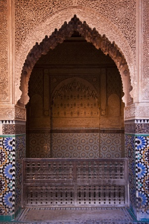 Arhitectural detail on the oriental palace entrance in Marrakesh, Morocco photo