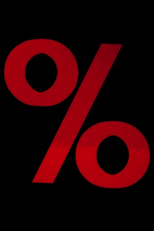 Red sign for percentage on the black backgrounf Stock Photo - 8990913