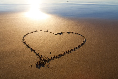 Heard drawn in the sand on the atlantic coast photo