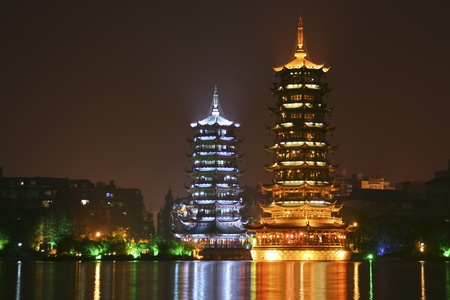 Chines pagodas in city park in Guilin
