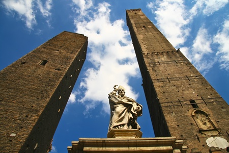 unusual angle: Asinelli Tower, one of the main sights in Bologna, Italy