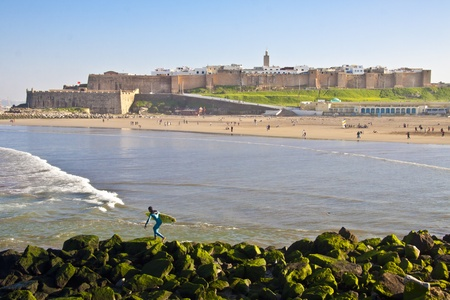 The city of Rabat, capital of Morocco, viewed from the seaside.