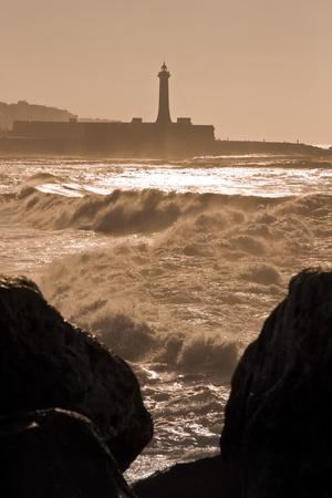capita: Black and White atlantic coast in front of the moroccan capita, Rabat Stock Photo