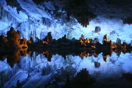 Underground lake in the Reed Flute Cave  Lu Di Yan  near Guilin in China photo