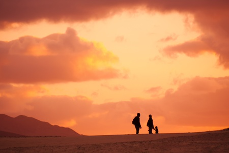 Silhouette of the family on their evening trip in the desert photo