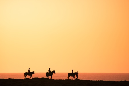Silhouettes of the horse riders on the coast. photo