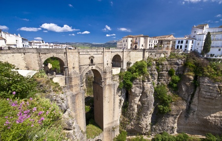 andalucia: New bridge in Ronda, one of the famous white villages in Andalucia, Spain