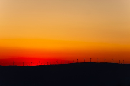 Wind turbines farm at sunset in southern Spain  photo