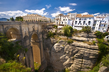 New bridge in Ronda, one of the famous white villages in Andalusia, Spain Stock Photo