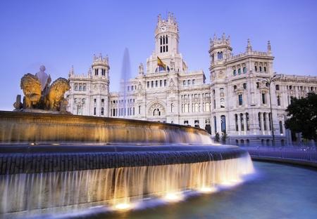 palacio de comunicaciones: Plaza de la Cibeles (Cybeles Square) - Central Post Office (Palacio de Comunicaciones), Madrid, Spain. Stock Photo