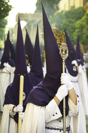 semana santa: The extraordinarily  Christian procession of the Semana Santa (Holy Week) in Andalusia, Spain. Stock Photo