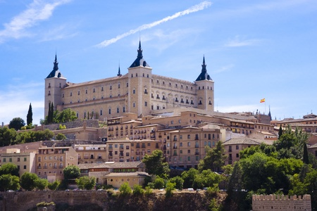 Panorama of the alcazar in Toledo, Spain