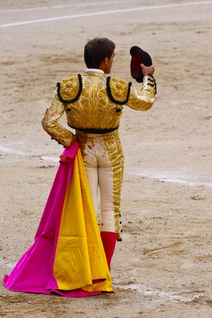 MADRID - JUNE 25  Novilladas in Las Ventas  Novillero  Jesus Fernandez  Bulfighting has been prohibited in Catalunia since 2011 for animal torturing  June 25, 2011 in Madrid  Spain