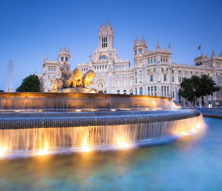 historical landmark: Plaza de la Cibeles (Cybeles Square) - Central Post Office (Palacio de Comunicaciones), Madrid, Spain. Stock Photo