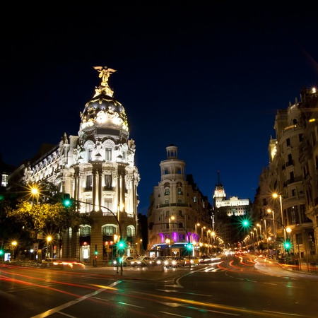 Gran via street in Madrid, Spain at night.