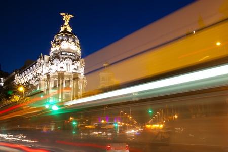 Gran via street in Madrid, Spain at night. photo