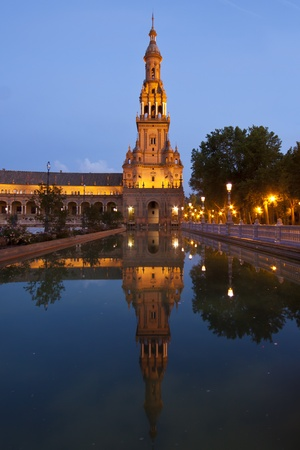 A view of the Plaza de Espana in Seville at dusk, Spain Stock Photo - 10578119