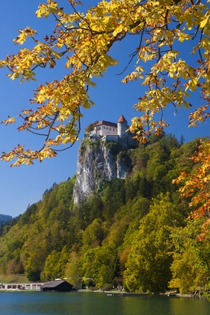 bled: Colorful Bled in fall, with the rock top castle in the background. Slovenia