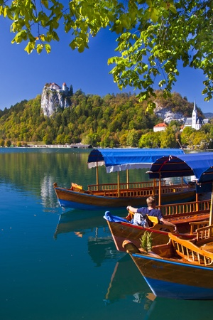 bled: Traditional wooden boats on lake Bled, with the rocktop castle in the background  Slovenia