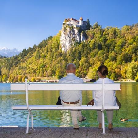 bled: Senior couple enjoying the beautiful Bled panorama, Slovenia