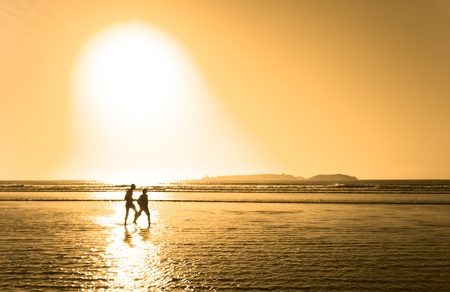Silhouette of couple strolling along the beach photo