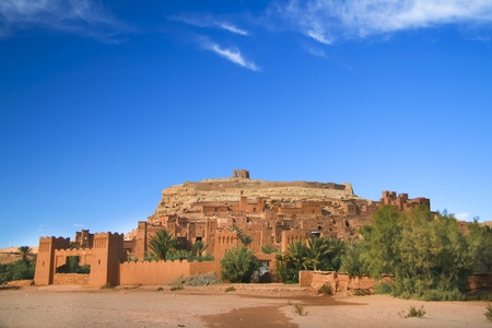 mud house: Panorama of the ancient moroccan kasbah Ait Benhaddou, near Ouarzazate - Unesco world heritage.