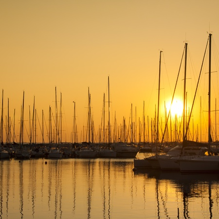Perfect golden sunset over the sailing boats marine in Sistiana, Italy photo