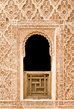 arabic architecture: Oriental mosaic window detail from an ancient palace, Marrakesh, Morocco