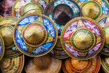 conical: Colorful Asian conical hats  Stock Photo