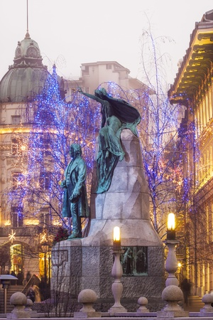 Statue of slovenian poet France Preseren, in the capital city Ljubljana, Slovenia
