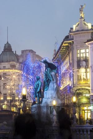 slovenia: Statue of slovenian poet France Preseren, in the capital city Ljubljana, Slovenia Editorial