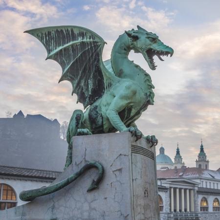 Zmajski most  Dragon bridge , Ljubljana, Slovenia, Europe