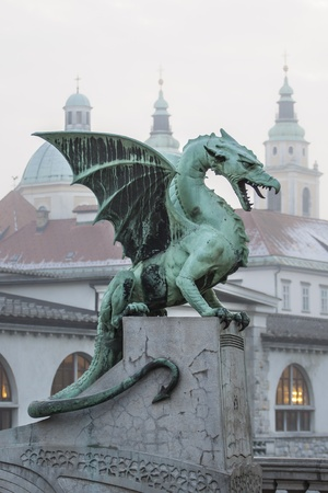 slovenia: Zmajski most  Dragon bridge , Ljubljana, Slovenia, Europe