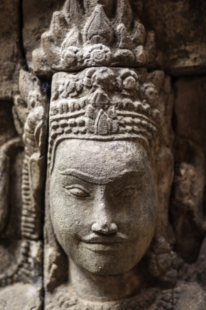 khmer: Detail of the ancient stone sculpture in Angkor Wat. Cambodia.