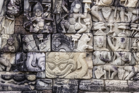 Detail of the ancient stone sculpture in Angkor Wat. Cambodia. photo