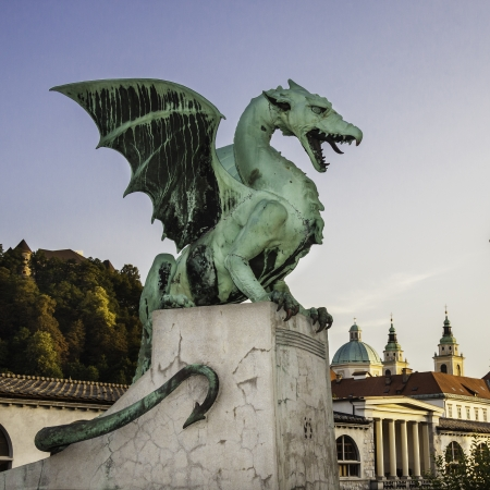 slovenia: Famous Dragon bridge (Zmajski most), symbol of Ljubljana, capital of Slovenia, Europe.