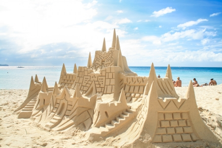 Sand castle on the picture perfect white sandy beach  Boracay, Philippines  Stock Photo