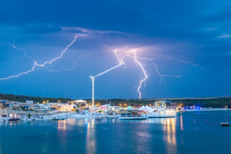 hedonism: Lightning storm over Zrce bay, famous Croatian party place  Stock Photo