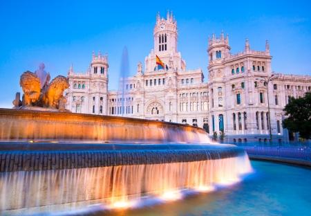 palacio de comunicaciones: Plaza de la Cibeles (Cybeles Square) - Central Post Office (Palacio de Comunicaciones), Madrid, Spain. Editorial